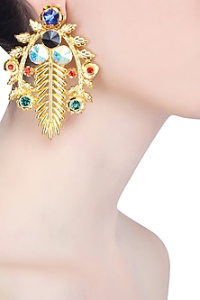 Gold Finish Semi Precious Stone Earrings by Valliyan by Nitya Arora