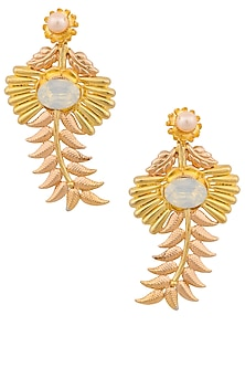 Gold and Rose Gold Finish Pearl Leaf Shape Earrings by Valliyan by Nitya Arora