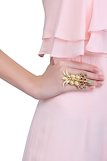 Gold finish pearl and semi precious stone ring by Valliyan by Nitya Arora