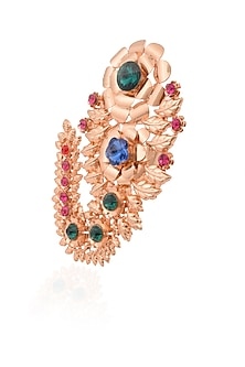 Gold finish semi precious stone rose design ring by Valliyan by Nitya Arora