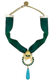 Green Swarovski Elements Skull Choker Necklace by Valliyan by Nitya Arora