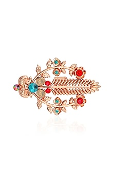 Gold Finish Multicolor Semi Precious Stone Leaf Statement Ring by Valliyan by Nitya Arora