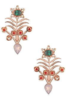 Rose Gold Plated Light Purple Stone Earrings by Valliyan by Nitya Arora