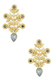 Gold Plated Teal Earrings by Valliyan by Nitya Arora