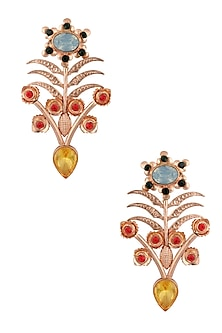 Rose Gold Plated Topaz Stone Earrings by Valliyan by Nitya Arora