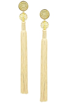 Gold Plated Textured Beige Silk Tassel Earrings by Valliyan by Nitya Arora