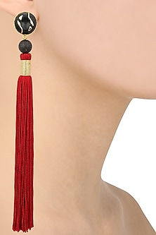 Gold Plated Black Stone and Red Silk Tassel Earrings