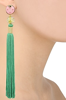 Gold Plated Pink Acrylic Top Ang Green Silk Tassel Earrings