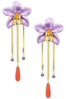 Gold Plated Purple Acrylic Flower Top Earrings by Valliyan by Nitya Arora