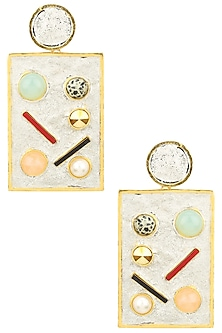 Gold Plated Silver Enamel Geometric Earrings by Valliyan by Nitya Arora