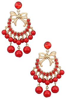 Rose Gold Plated Red Stone Bow Earrings by Valliyan by Nitya Arora