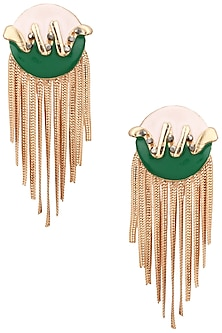 ROSE GOLD FINISH BLUE AND GREEN TOP METAL TASSEL EARRINGS by VALLIYAN BY NITYA ARORA