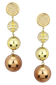 Rose Gold Plated Ball Dangler Earrings by Valliyan by Nitya Arora