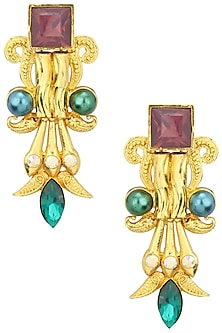 Gold Plated Rococo Pillar Earrings by Valliyan by Nitya Arora