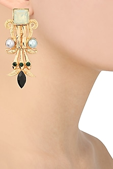 Gold Plated Iridescent Mint Pillar Earrings by Valliyan by Nitya Arora