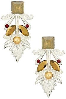 Rhodium Plated Semi Precious Stone and Pearl Earrings by Valliyan by Nitya Arora