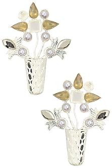Rhodium Plated Semi Precious Stone and Pearl Gamla Earrings by Valliyan by Nitya Arora