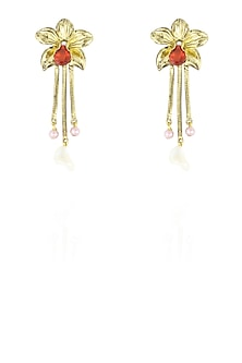 Gold finish semi precious stone fringe flower earrings by Valliyan By Nitya Arora