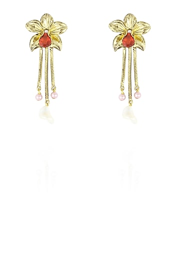 Gold finish semi precious stone fringe flower earrings by Valliyan By Nitya Arora