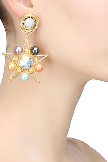 Gold finish multi color pearl star shape earrings by Valliyan By Nitya Arora