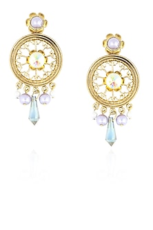 Gold finish pearl round earrings by Valliyan By Nitya Arora
