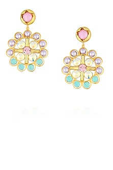 Gold finish semi precious stone and lavender pearl round big earrings by Valliyan By Nitya Arora