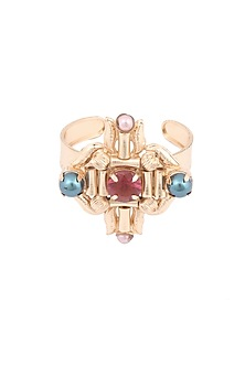 Rose gold finish semi precious stone and pearl abstract motif cuff by Valliyan By Nitya Arora