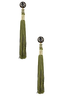 Gold Plated Olive Silk Long Tassel Earrings by Valliyan by Nitya Arora