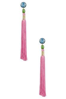 Gold Plated Pink Silk Long Tassel Earrings by Valliyan by Nitya Arora