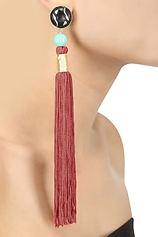 Gold Plated Rust Silk Long Tassel Earrings by Valliyan by Nitya Arora