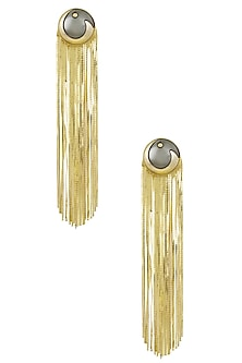 Gold Plated Grey Stone Metal Long Tassel Earrings by Valliyan by Nitya Arora