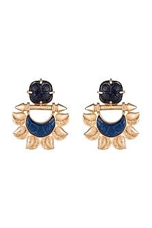 Gold Finish Blue Stone Earrings by VASTRAA Jewellery