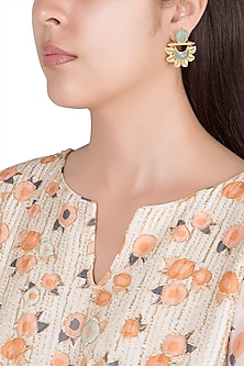 Gold Finish Faux Turquoise Blue Earrings by VASTRAA Jewellery