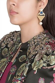 Gold Finish Faux Pearls, Kundan & Blue Stones Earrings by VASTRAA Jewellery