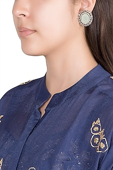 Black Finish Faux Diamonds & Sky Blue Stone Earrings by VASTRAA Jewellery