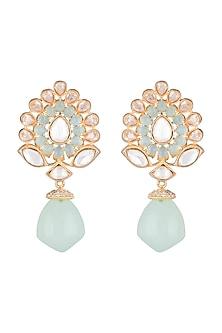 Gold Finish Faux Diamonds, Kundan & Turquoise Blue Stones Earrings by VASTRAA Jewellery