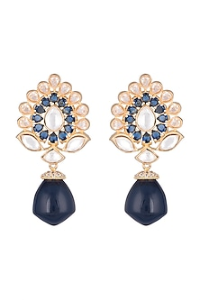 Gold Finish Faux Diamonds, Kundan & Dark Blue Stone Earrings by VASTRAA Jewellery