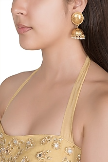 Gold Finish Faux Pearls Jhumka Earrings by VASTRAA Jewellery