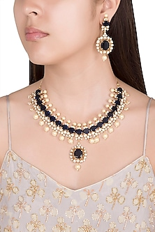 Gold Finish Faux Pearls & Blue Stones Necklace Set by VASTRAA Jewellery