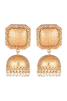 Gold Finish Faux Pearls Earrings by VASTRAA Jewellery