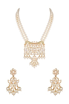 Gold Finish Faux Pearls & Kundan Pendant Necklace Set by VASTRAA Jewellery