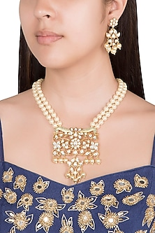 Gold Finish Faux Pearls & Kundan Pendant Necklace Set by VASTRAA Jewellery