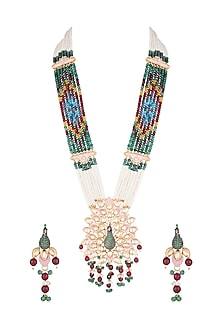 Gold Finish Faux Kundan Enameled Peacock Mala Necklace Set by VASTRAA Jewellery