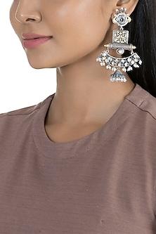 Black Rhodium Finish Antique Earrings by VASTRAA Jewellery
