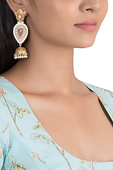 Gold Finish Blue Enamelled Antique Jhumka Earrings by VASTRAA Jewellery