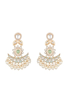 Gold Finish Blue & Green Stone Antique Earrings by VASTRAA Jewellery