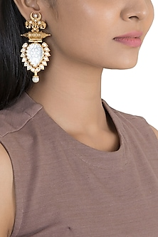 Gold Finish White Stone Antique Earrings by VASTRAA Jewellery