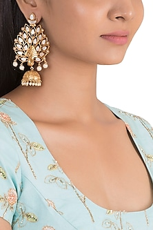 Gold Finish White Stone Peacock Earrings by VASTRAA Jewellery