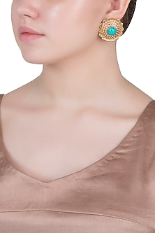 Dull gold plated turquoise and pearl bead stud earrings