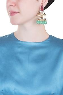 Gold plated stone jhumki earrings
